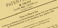 The patent of Carl Zeiss for the invention of the coating of glass surfaces.